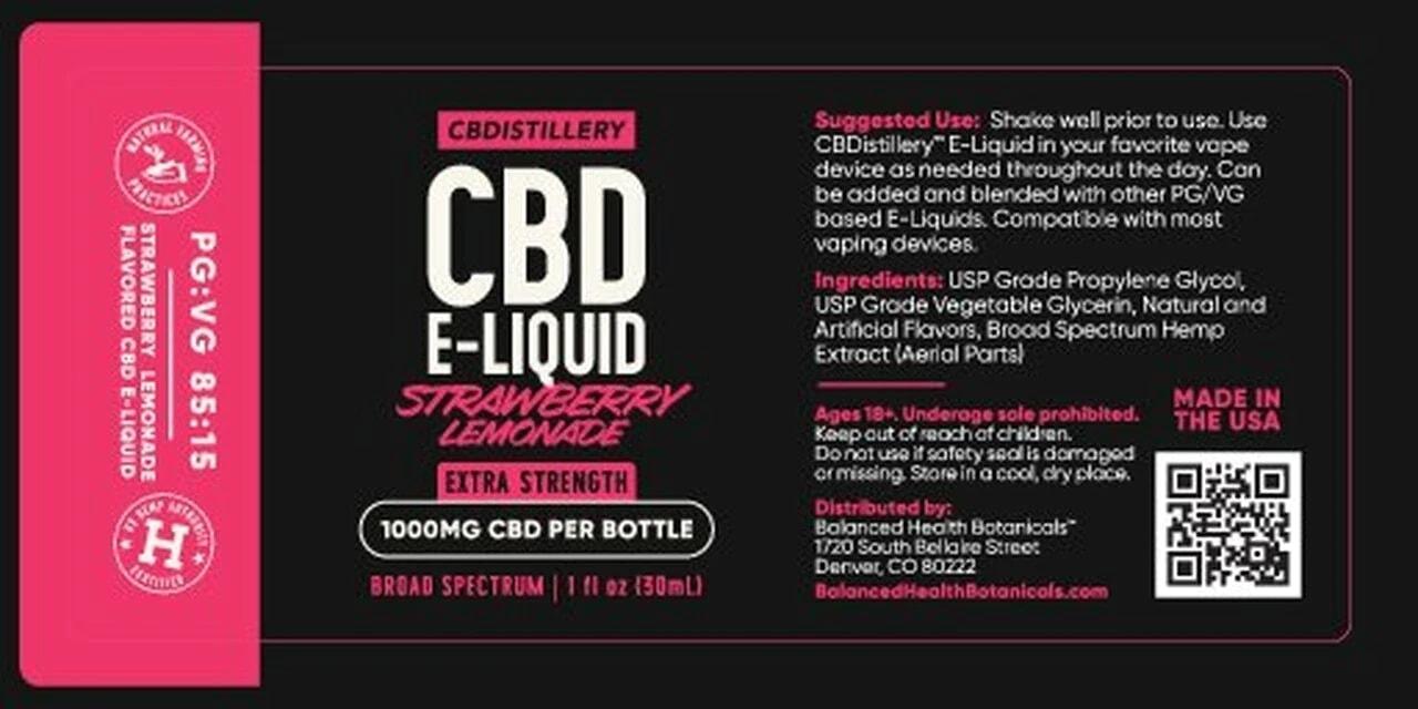 CBDistillery, Broad Spectrum CBD E-Liquid, Strawberry Lemonade, THC-Free, 1000mg of CBD2