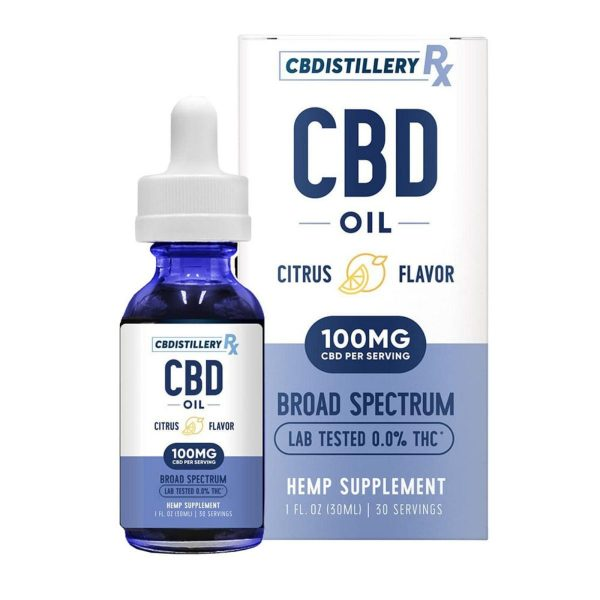 CBDistillery, Broad Spectrum CBD Oil Tincture, THC-Free, Citrus, 1oz, 3000mg of CBD
