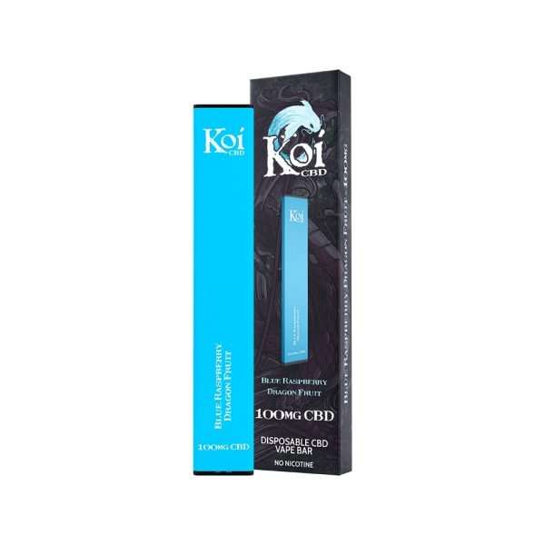 Koi CBD, Disposable Vape Bar, Blue Raspberry Dragon Fruit, 1.3ml, 100mg of CBD