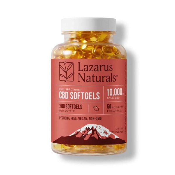 Lazarus Naturals, 50mg Full Spectrum CBD Softgels, 200ct, 10000mg of CBD