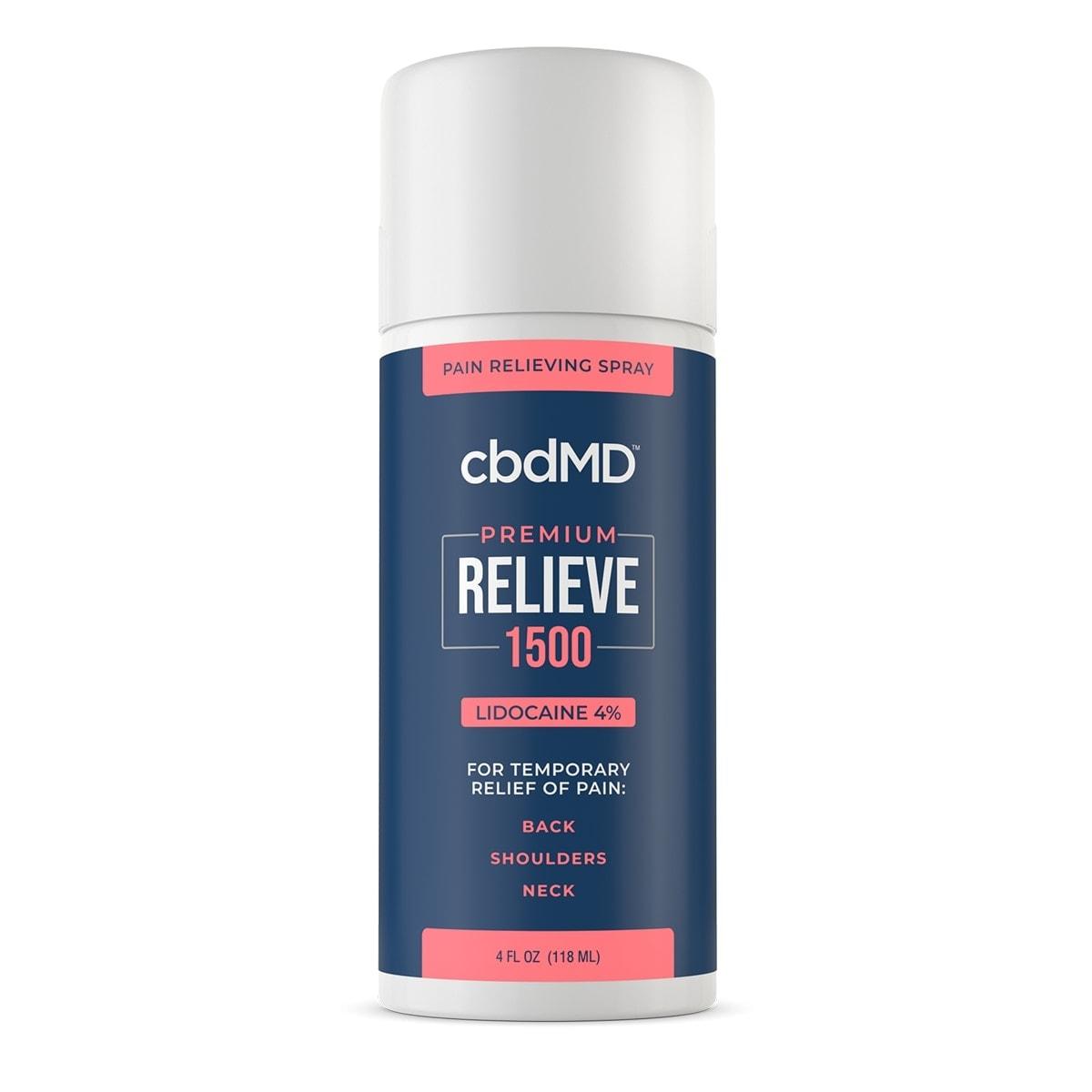 cbdMD, CBD Lidocaine Spray, Broad Spectrum THC-Free, 4oz, 1500mg of CBD