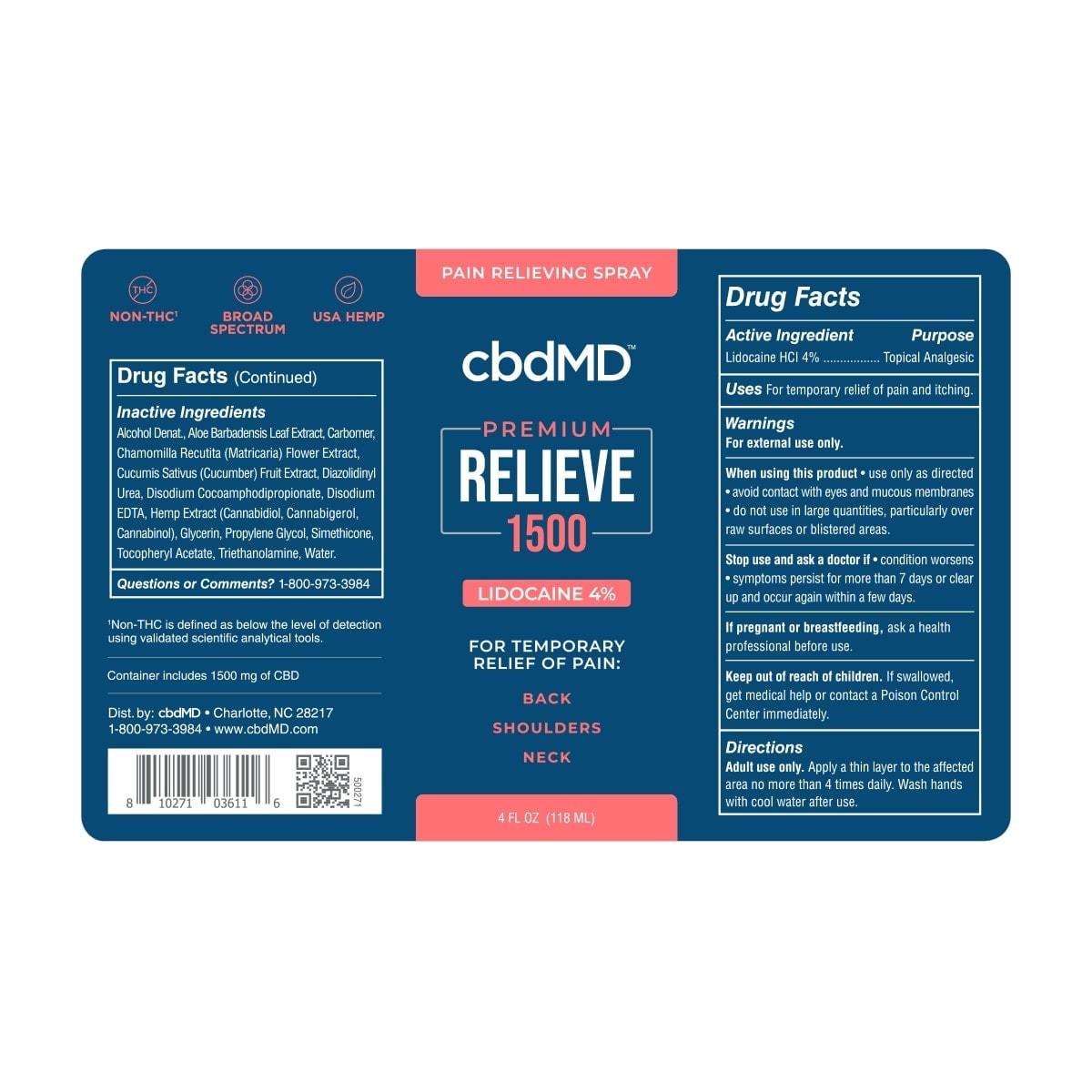 cbdMD, CBD Lidocaine Spray, Broad Spectrum THC-Free, 4oz, 1500mg of CBD3