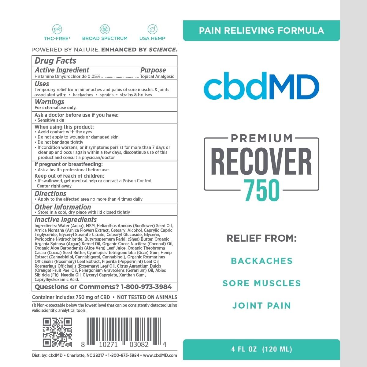 cbdMD, CBD Recover Squeeze, Broad Spectrum THC-Free, 4oz, 750mg of CBD2