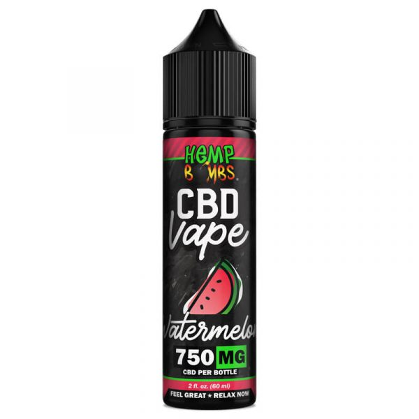 Hemp Bombs, CBD Vape Juice, Full Spectrum, Watermelon, 2oz, 750mg of CBD
