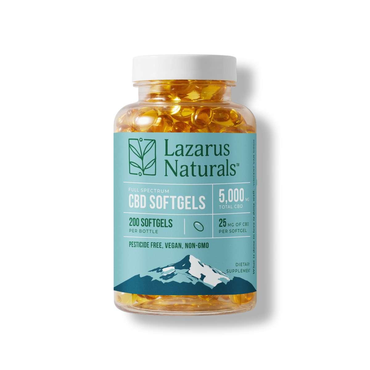 Lazarus Naturals, 25mg Full Spectrum CBD Softgels, 200ct, 5000mg of CBD