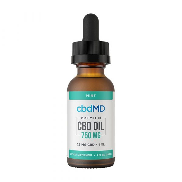cbdMD, CBD Oil Tincture, Broad Spectrum THC-Free, Mint, 1oz, 750mg of CBD