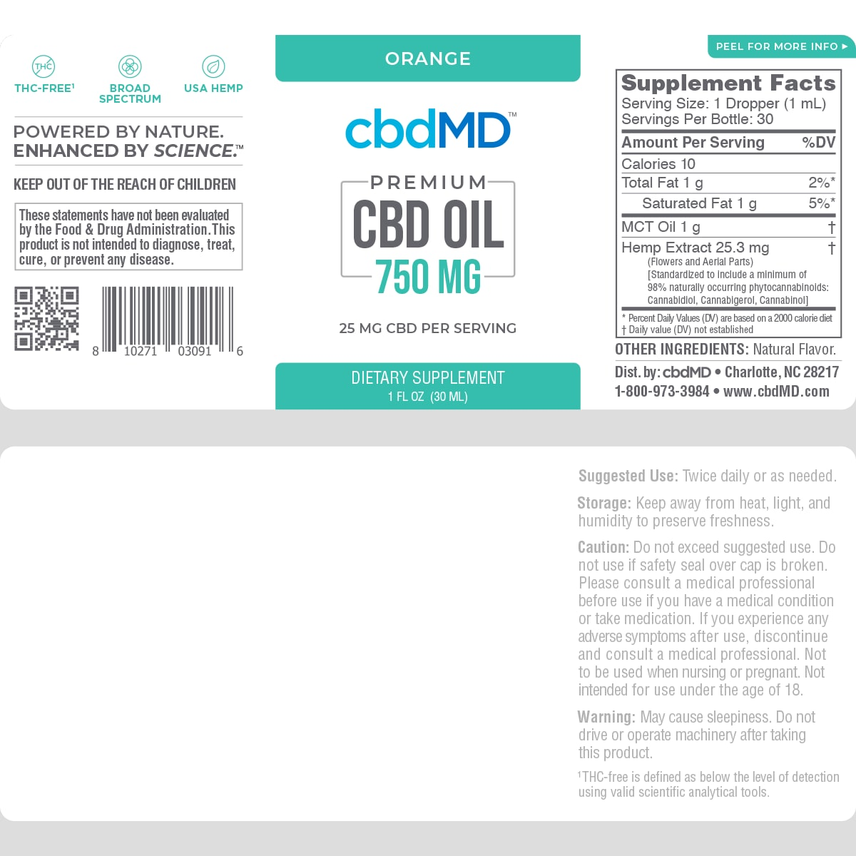 cbdMD, CBD Oil Tincture, Broad Spectrum THC-Free, Orange, 1oz, 750mg of CBD2