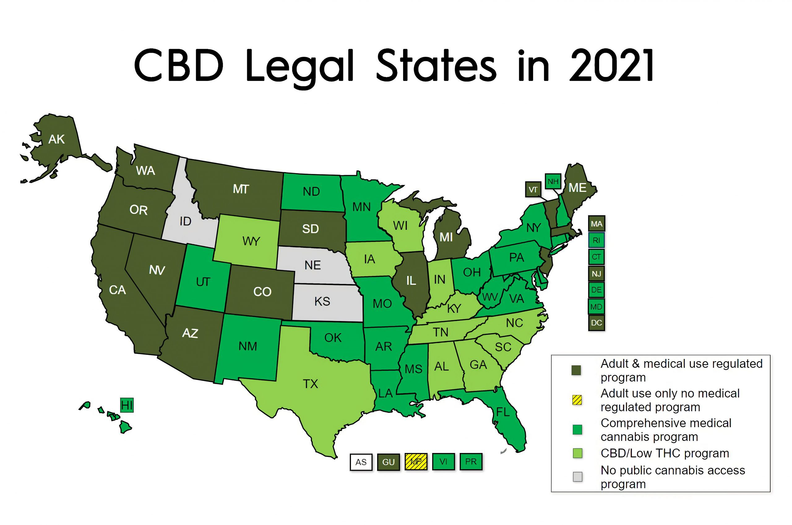 Map of CBD Legality in All States of America in 2021
