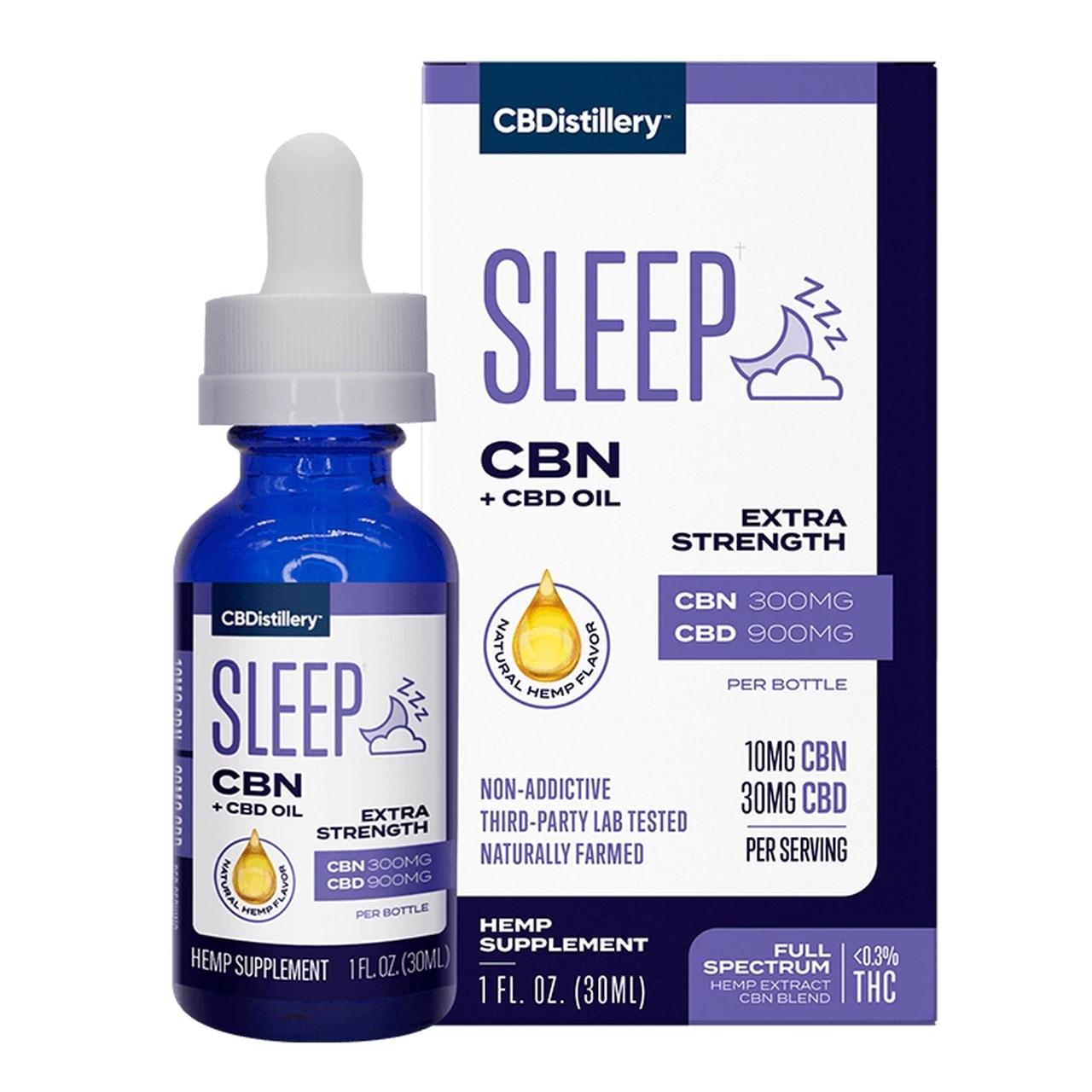 CBDistillery, Extra Strength CBN + CBD Sleep Tincture 1-3, Full Spectrum, 1oz, 300mg CBN and 900mg CBD
