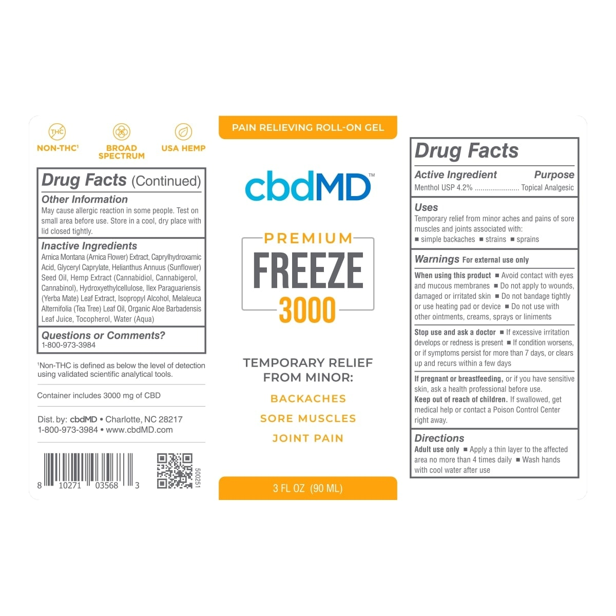 cbdMD, CBD Freeze Roller Gel, Broad Spectrum THC-Free, 3oz, 3000mg of CBD 3