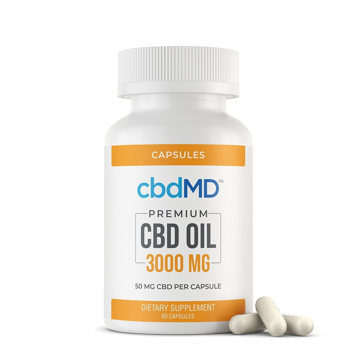 cbdMD, CBD Oil Capsules, Broad Spectrum THC-Free, 60-Count, 3000mg of CBD 1