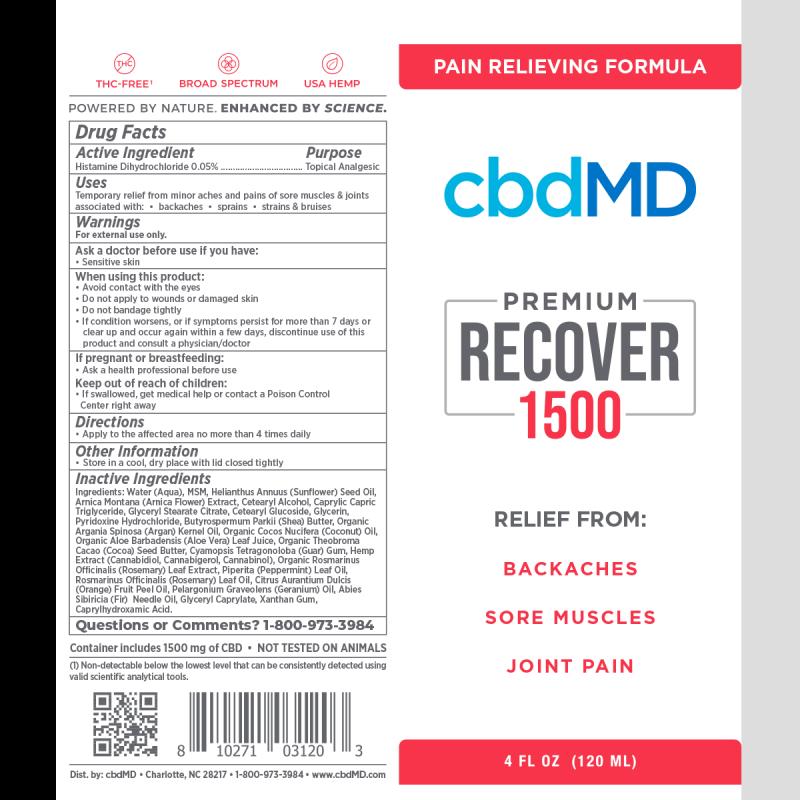 cbdMD, CBD Recover Squeeze, Broad Spectrum THC-Free, 4oz, 1500mg CBD 2
