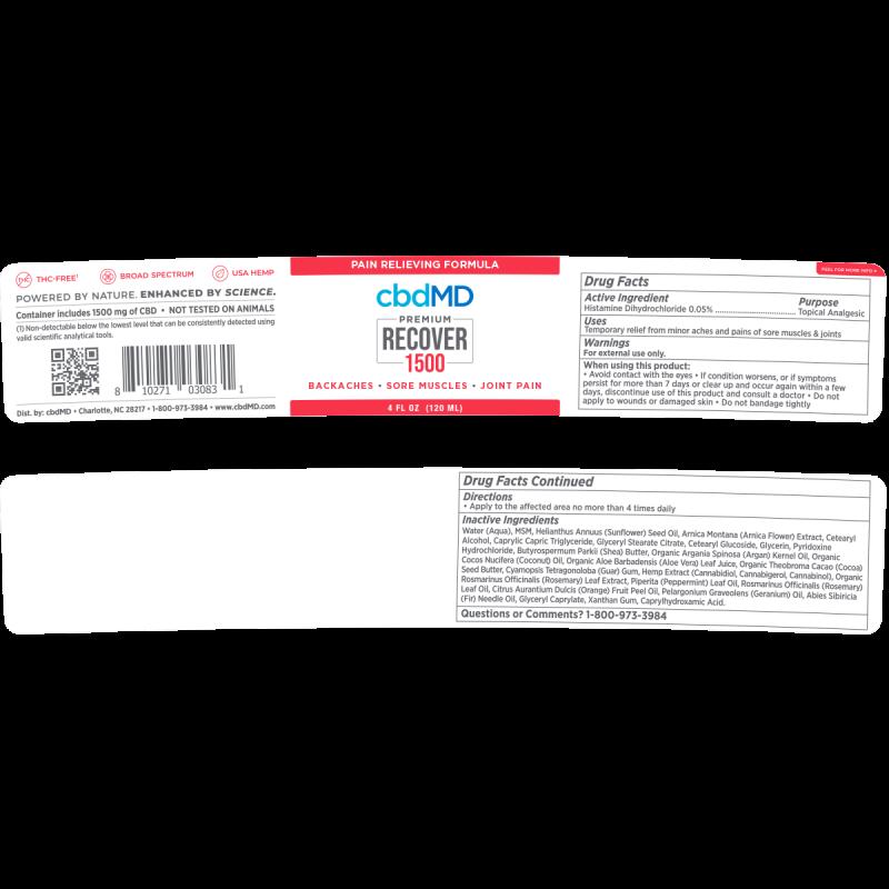 cbdMD, CBD Recover Tub, Broad Spectrum THC-Free, 4oz, 1500mg CBD 2