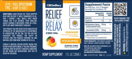 CBDistillery, CBD Oil, Full Spectrum, Mango Flavor, 1oz, 1000mg of CBD 4