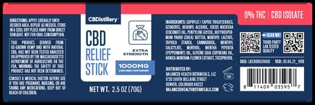 CBDistillery, CBD Relief Stick, Isolate THC-Free, 1000mg CBD 4
