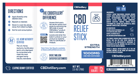 CBDistillery, CBD Relief Stick, Isolate THC-Free, 1000mg CBD 5