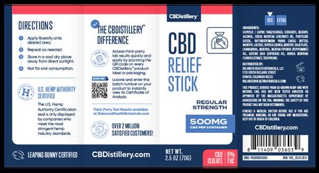 CBDistillery, CBD Relief Stick, Isolate THC-Free, 500mg CBD 5