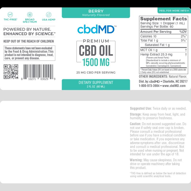 cbdMD, CBD Oil Tincture, Broad Spectrum THC-Free, Berry, 2oz, 1500mg CBD 2
