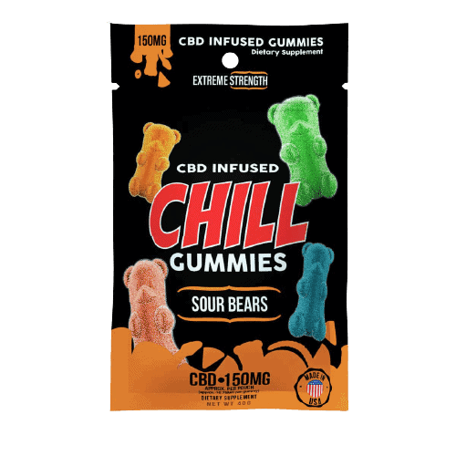 Chill Gummies, CBD Infused Sour Bears, 14-count, 0.75oz, 150mg of CBD