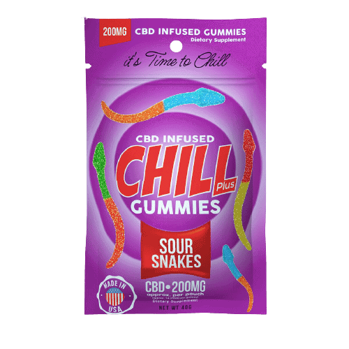 Chill Plus Gummies, CBD Sour Snakes, 10 Count, 200mg of CBD