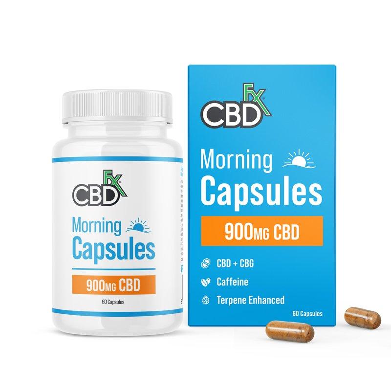 CBDfx, CBD + CBG Morning Capsules For Energy & Focus, Broad Spectrum THC-Free, 60ct, 150mg CBG + 900mg CBD 1