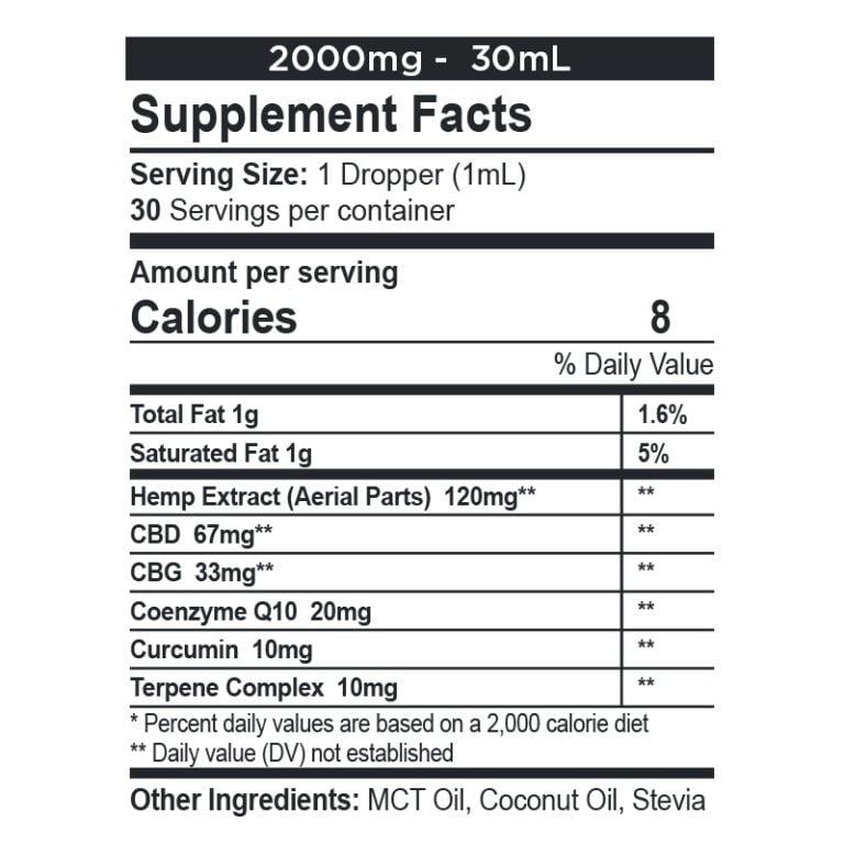 CBDfx, CBD + CBG Oil Wellness Tincture, Full Spectrum, 1oz, 1000mg CBG + 2000mg CBD 2