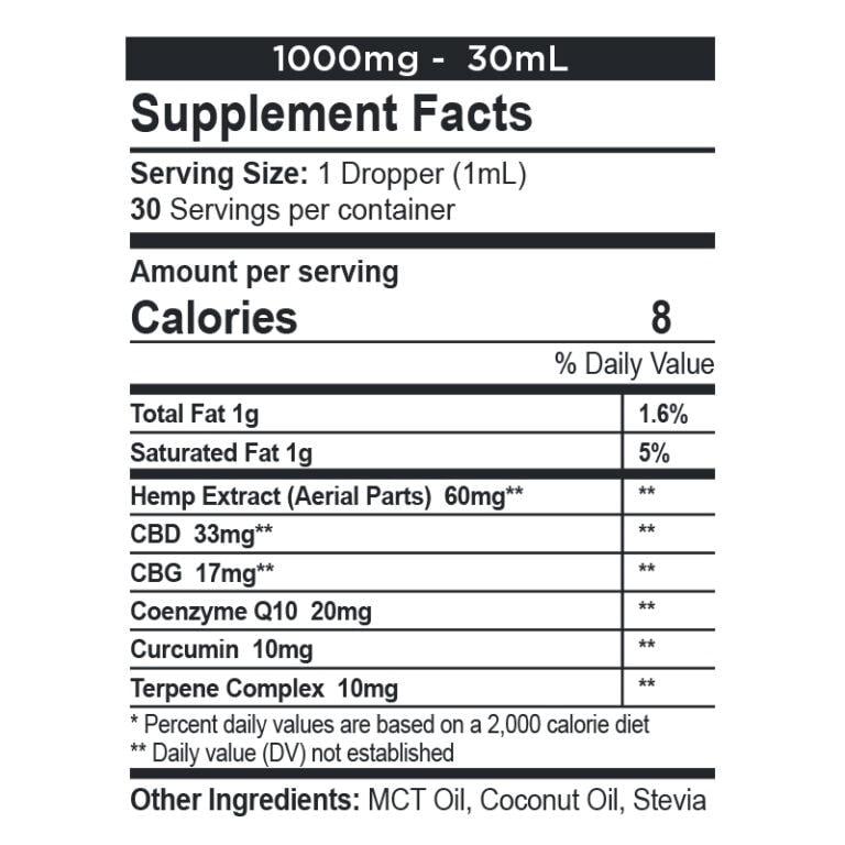 CBDfx, CBD + CBG Oil Wellness Tincture, Full Spectrum, 1oz, 500mg CBG + 1000mg CBD 2