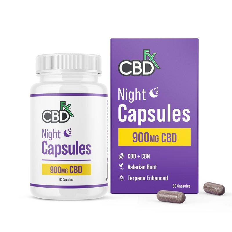 CBDfx, CBD + CBN Night Capsules For Sleep, Broad Spectrum THC-Free, 60ct, 75mg CBN + 900mg CBD 1