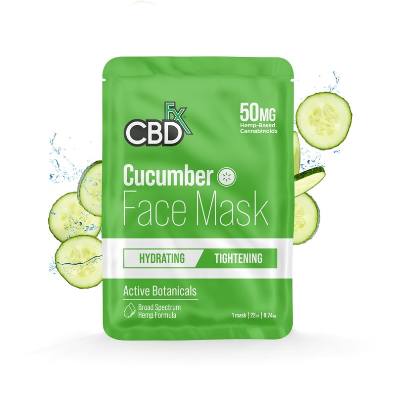 CBDfx, CBD Face Mask, Cucumber : Tightening, Broad Spectrum THC-Free, 50mg CBD 1