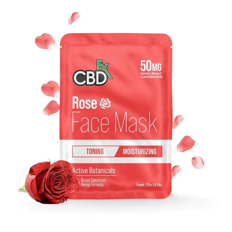 CBDfx, CBD Face Mask, Rose : Moisturizing, Broad Spectrum THC-Free, 50mg CBD 1