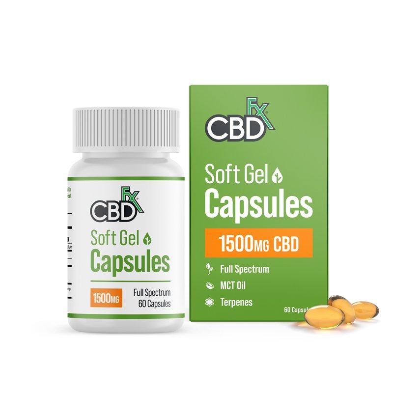 CBDfx, CBD Gel Capsules, Full Spectrum, 60ct, 1500mg CBD 1