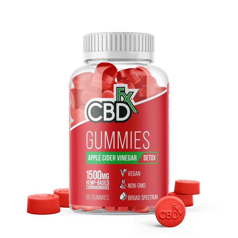 CBDfx, CBD Gummies with Apple Cider Vinegar, Broad Spectrum THC-Free, 60ct, 1500mg CBD 1