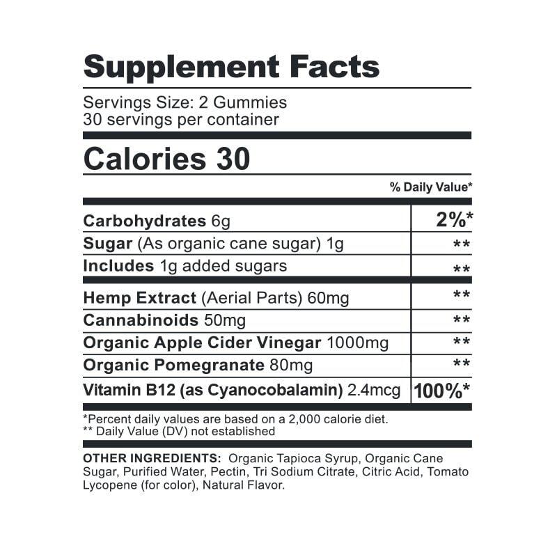 CBDfx, CBD Gummies with Apple Cider Vinegar, Broad Spectrum THC-Free, 60ct, 1500mg CBD 2
