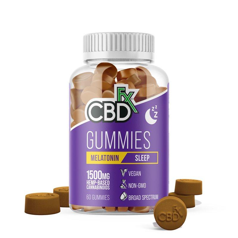CBDfx, CBD Gummies with Melatonin For Sleep, Broad Spectrum THC-Free, 60ct, 1500mg CBD 1
