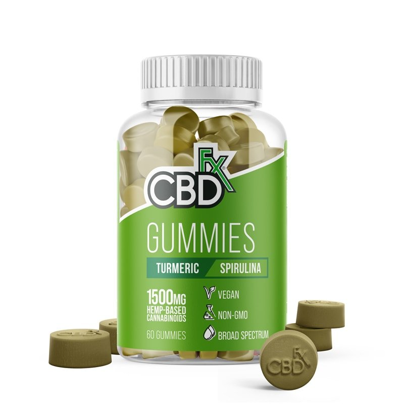 CBDfx, CBD Gummies with Turmeric and Spirulina, Broad Spectrum THC-Free, 60ct, 1500mg CBD 1