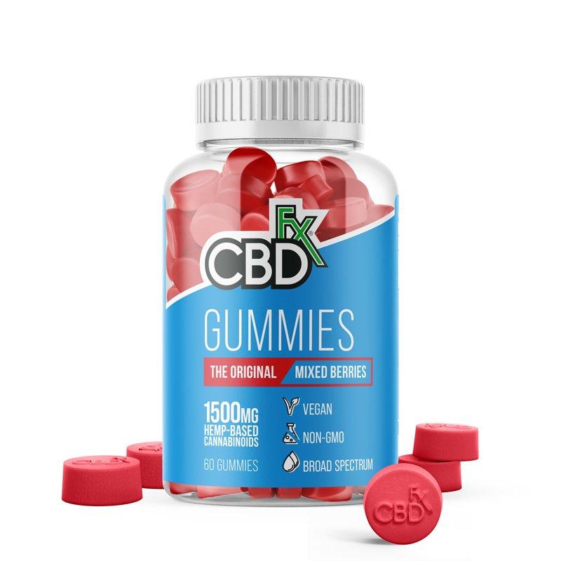 CBDfx, CBD Gummy Bears, Broad Spectrum THC-Free, Mixed Berries, 60ct, 1500mg CBD 1