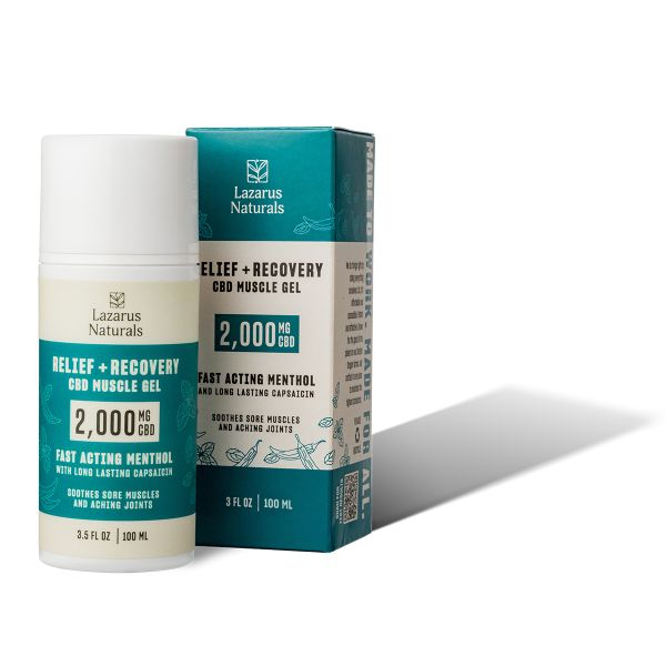 Lazarus Naturals, Relief & Recovery CBD Muscle Gel, Full Spectrum, 3.5oz, 2000mg CBD 1