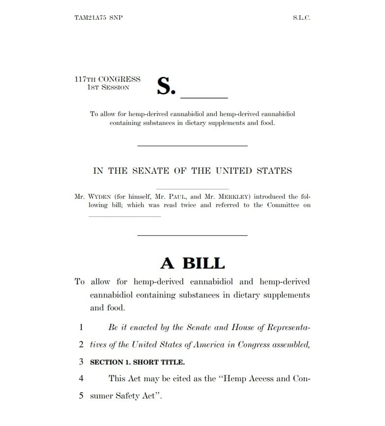 A BILL to allow for hemp-derived cannabidiol and hemp-derived cannabidiol containing substances in dietary supplements and food