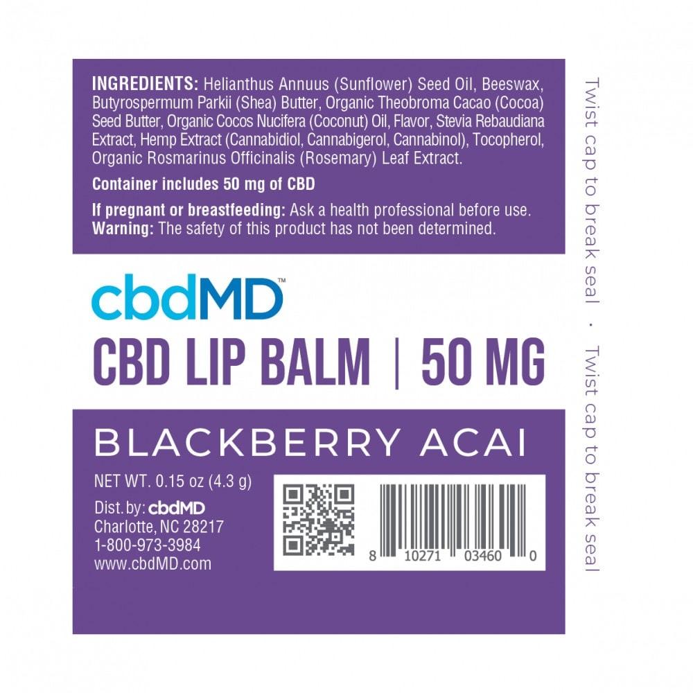 cbdMD, CBD Lip Balm, Broad Spectrum THC-Free, Blackberry Acai, 50mg CBD 2