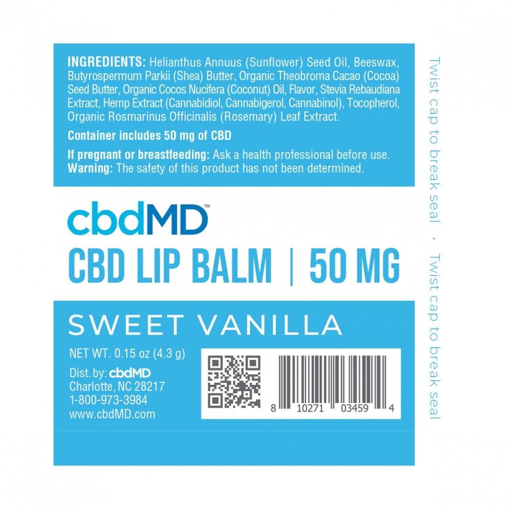 cbdMD, CBD Lip Balm, Broad Spectrum THC-Free, Sweet Vanilla, 50mg CBD 2