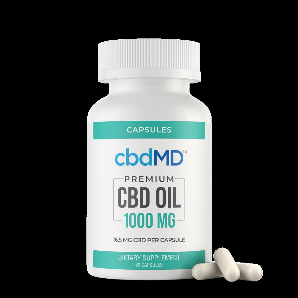 cbdMD, CBD Oil Capsules, Broad Spectrum THC-Free, 60-Count, 1000mg CBD 1