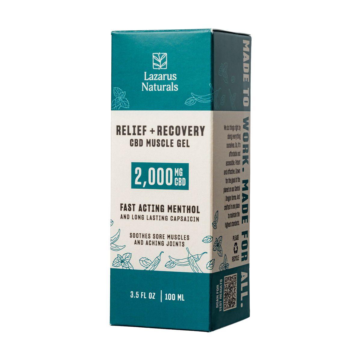Lazarus Naturals, Relief & Recovery CBD Muscle Gel, Full Spectrum, 3.5oz, 2000mg CBD