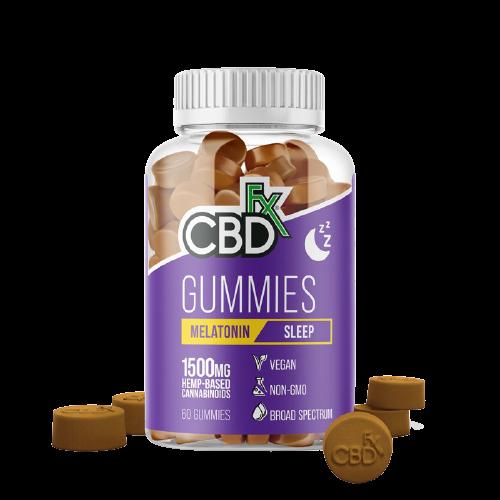 CBDfx, CBD Gummies with Melatonin For Sleep, Broad Spectrum THC-Free, 60ct, 1500mg CBD