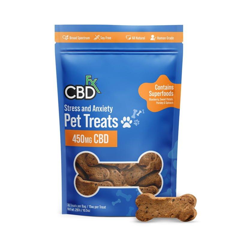 CBDfx, CBD Pet Treats for Stress & Anxiety, Broad Spectrum THC-Free, 30ct, 450mg CBD