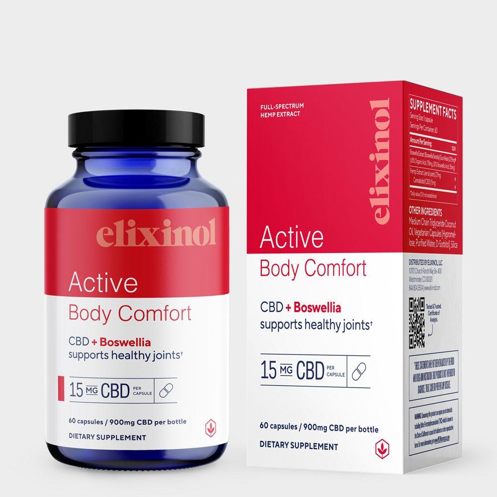 Elixinol, Active Body Comfort CBD Capsules, Full Spectrum, Boswellia, 60ct, 900mg CBD 1