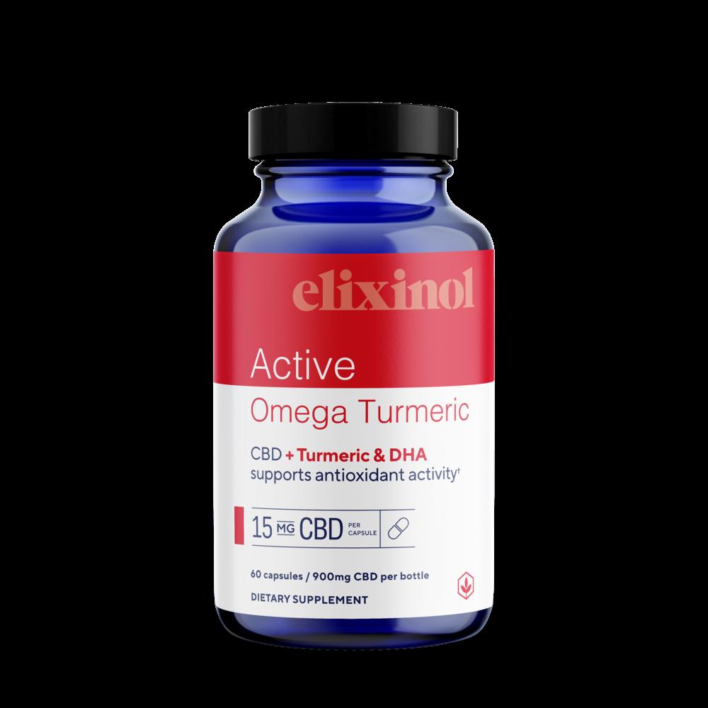 Elixinol, Active Omega Turmeric CBD Capsules, Full Spectrum, Turmeric & DHA, 60ct, 900mg CBD 2
