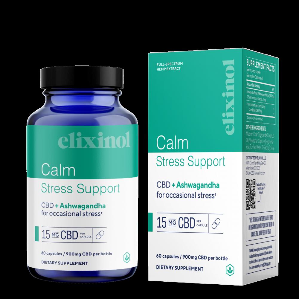 Elixinol, Calm Stress Support CBD Capsules, Full Spectrum, Ashwagandha, 60ct, 900mg CBD 1