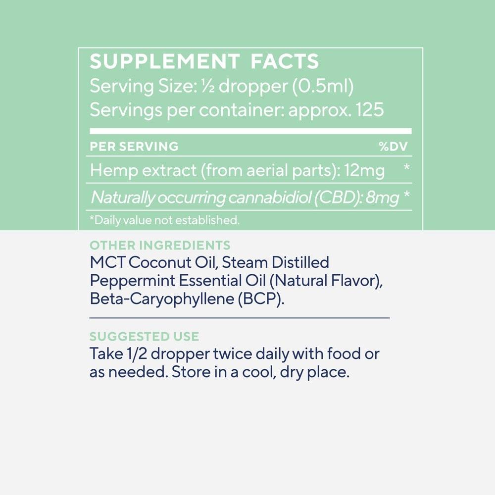 Elixinol, Daily Balance CBD Tincture, Broad Spectrum THC-Free, Winter Mint, 2oz, 1000mg CBD 3