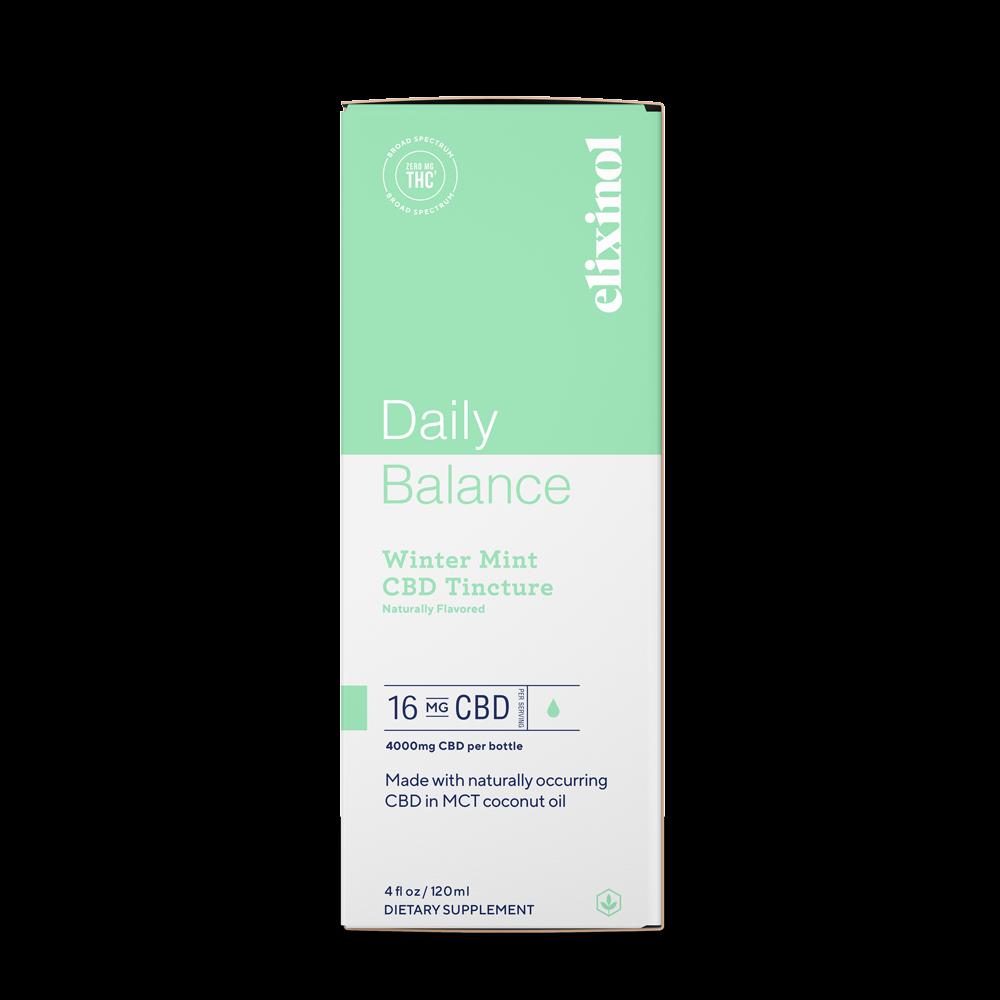 Elixinol, Daily Balance CBD Tincture, Broad Spectrum THC-Free, Winter Mint, 4oz, 4000mg CBD 3