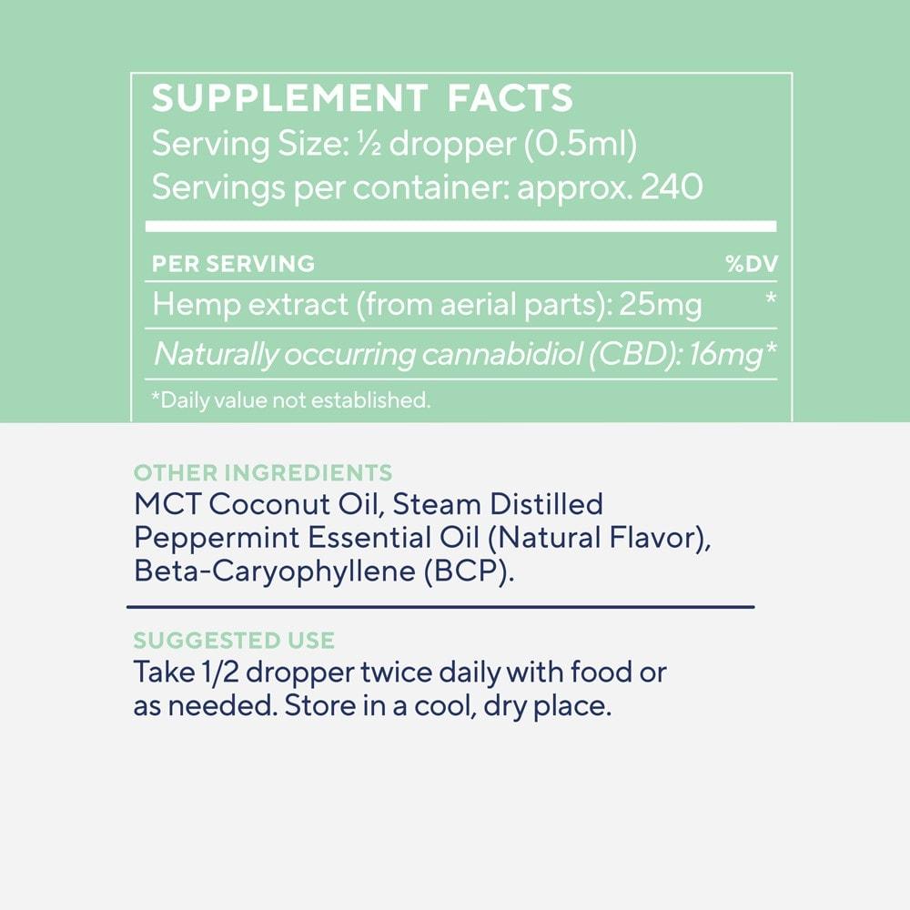 Elixinol, Daily Balance CBD Tincture, Broad Spectrum THC-Free, Winter Mint, 4oz, 4000mg CBD 4